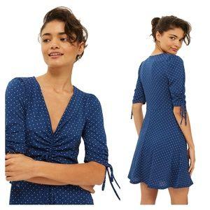 Topshop Polka Dot Tea Dress Blue